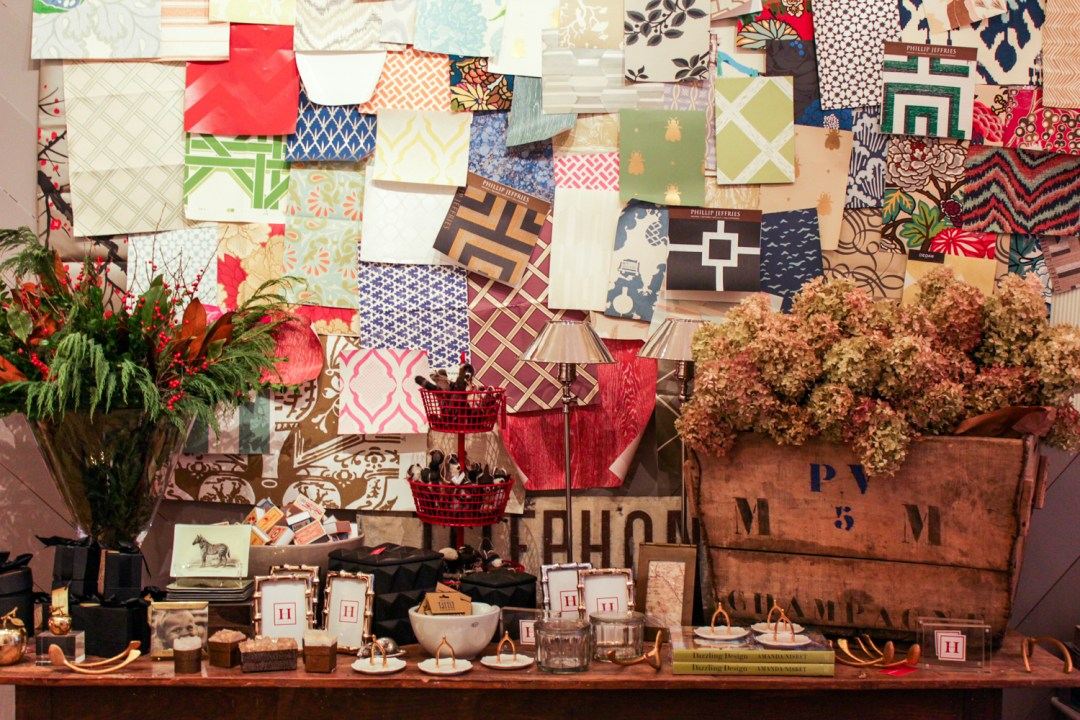 a wall of swatches and quirky decor
