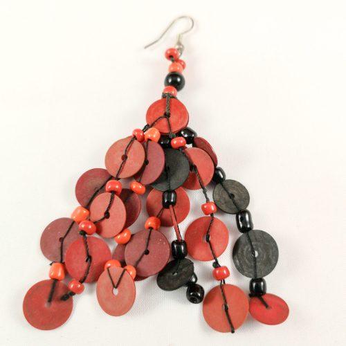 oorbel rood recycled Vinyl duurzaam eco fairtrade 122335475414