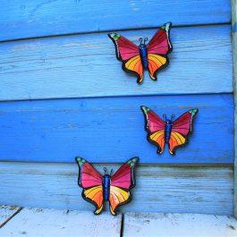 3 roze vlinders