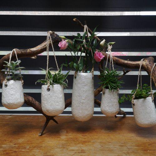 3 soorten hangpotjes wit duurzaam