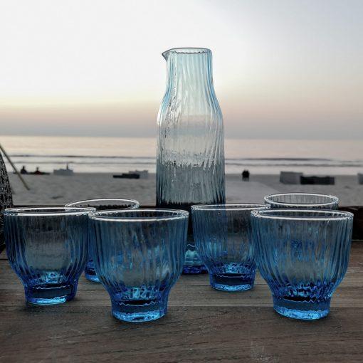 karaf blue glazen 1