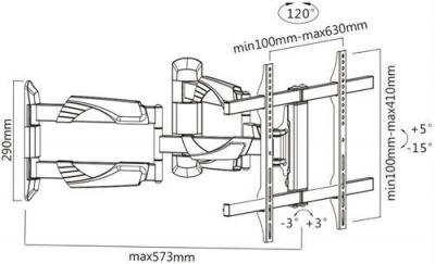 Deltaco väggfäste för välvd TV/skärm, max 45 kg