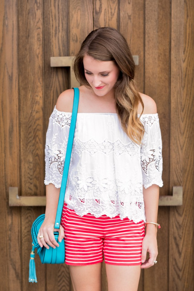 July 4th outfit | Summer Style | Off the shoulder lace top + striped shorts | It's All Chic To Me