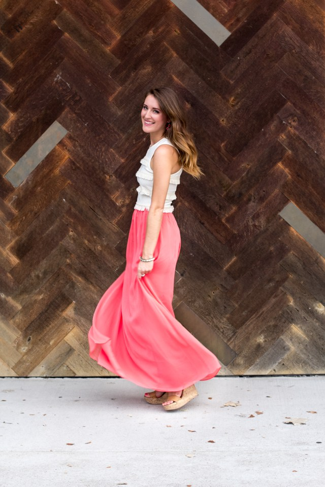 Fringe crop top + coral maxi skirt | Summer Fashion | A letter to myself | It's All Chic To Me