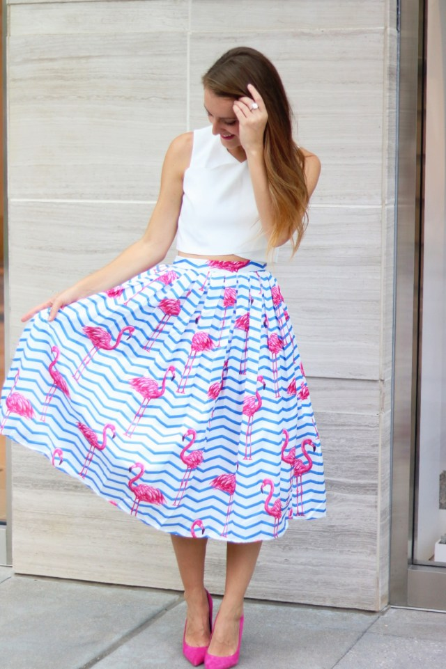Flamingo Skirt + Crop Top + Pink Heels | It's All Chic To Me