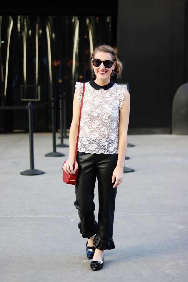 New York Fashion Week recap, Leather pants + lace collared top