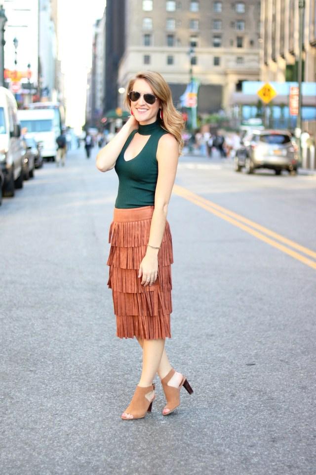 NYFW street style: fringe skirt + choker top