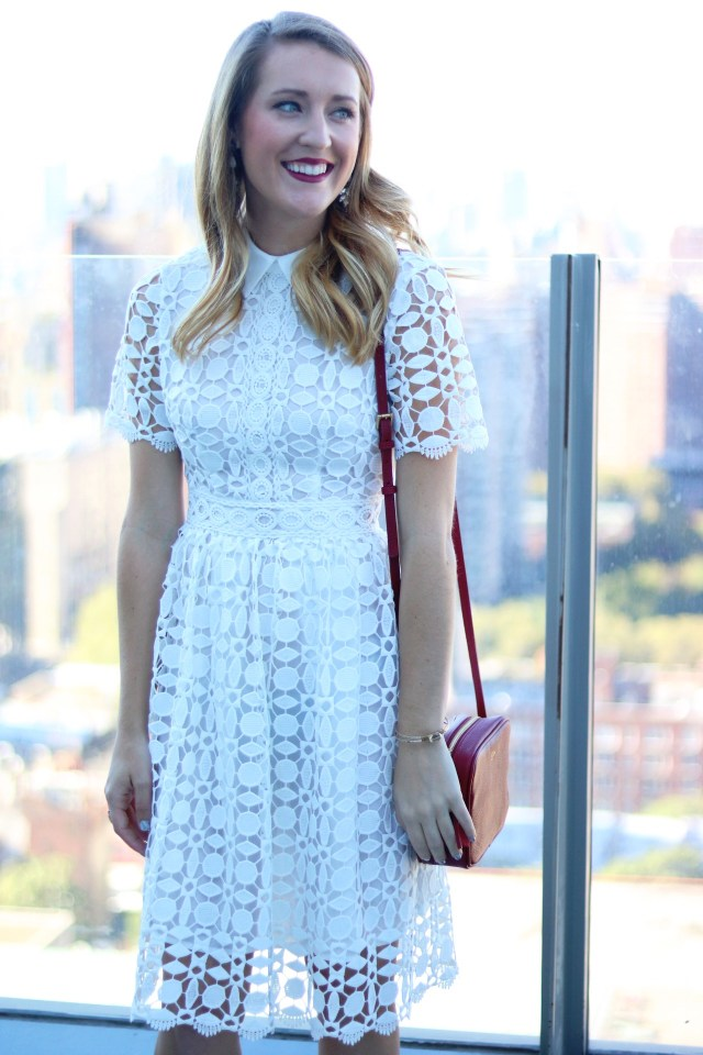 White After Labor Day + Crochet midi dress