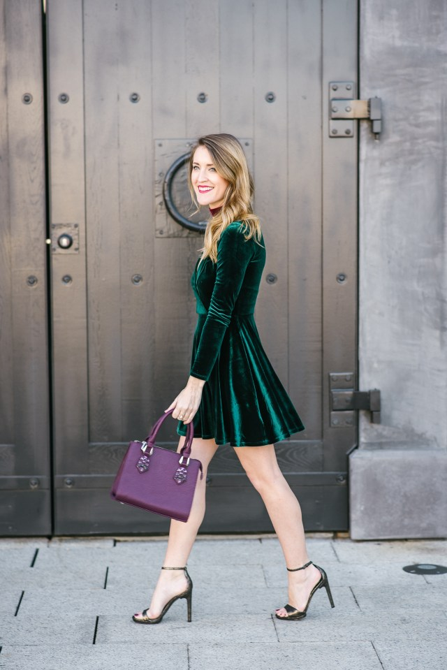 Holiday style: green velvet party dress