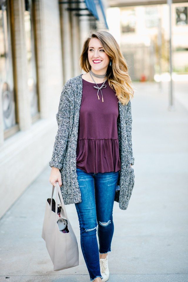 Black Friday deals + Casual and cute style: chunky sweater + distressed denim + sneakers
