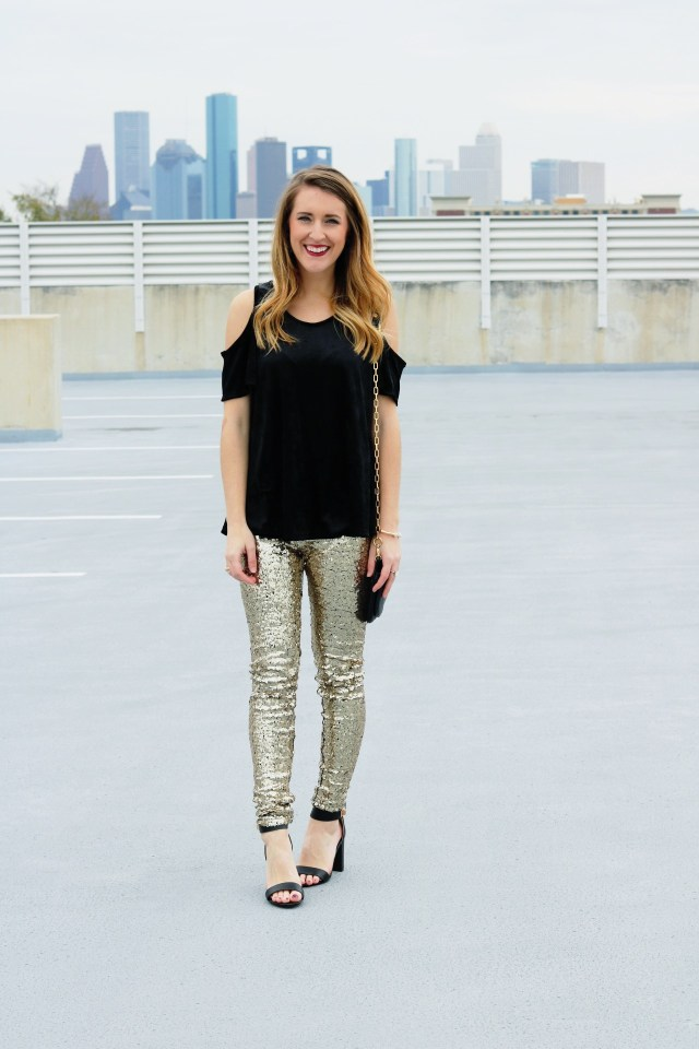 New Year's Eve sparkle: sequin leggings + cold shoulder top
