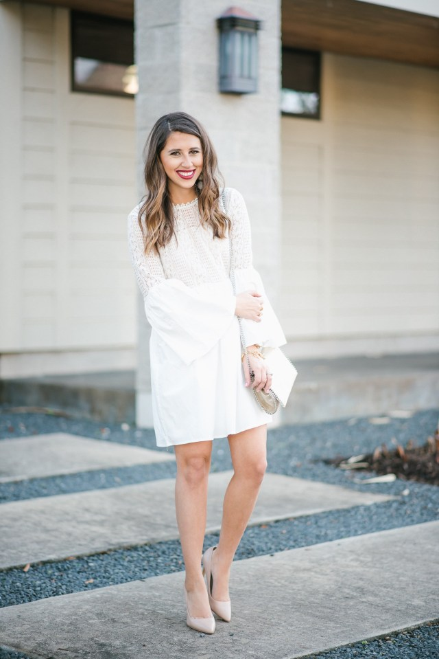 Valentine's Day wear: White dress + nude heels