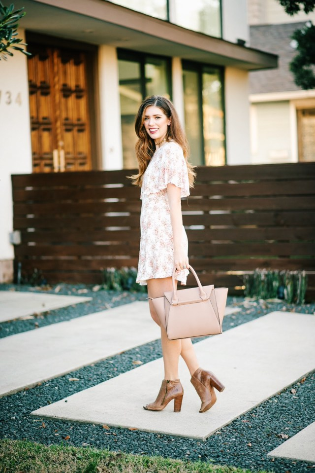 Valentine's Day wear: Floral mini dress + booties