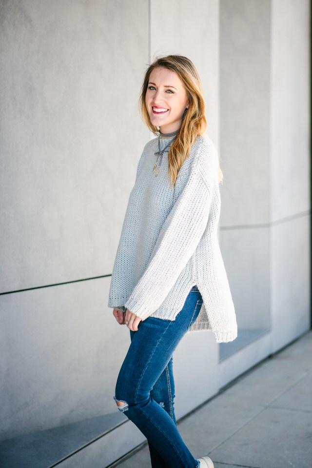 Casual style with Chic Wish: grey sweater + distressed denim + sneakers