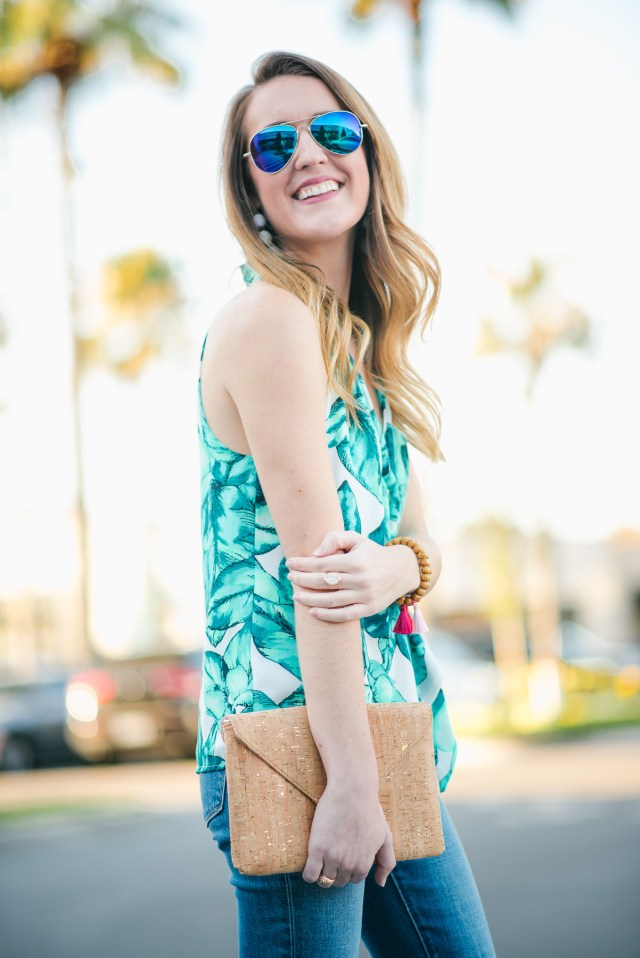 Spring Break Vacation style: palm print tank + distressed denim + wedges