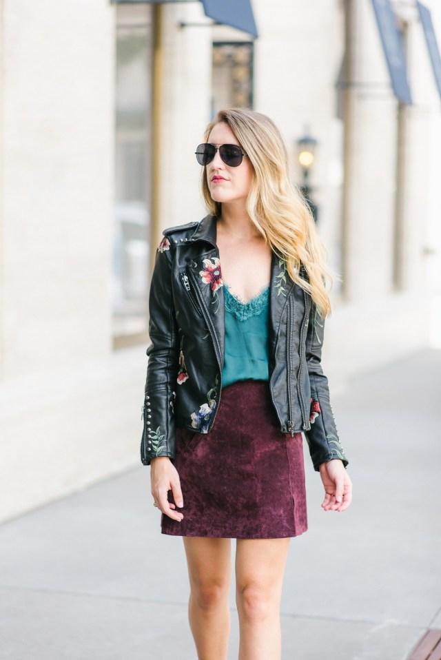 Leather jacket day to night look