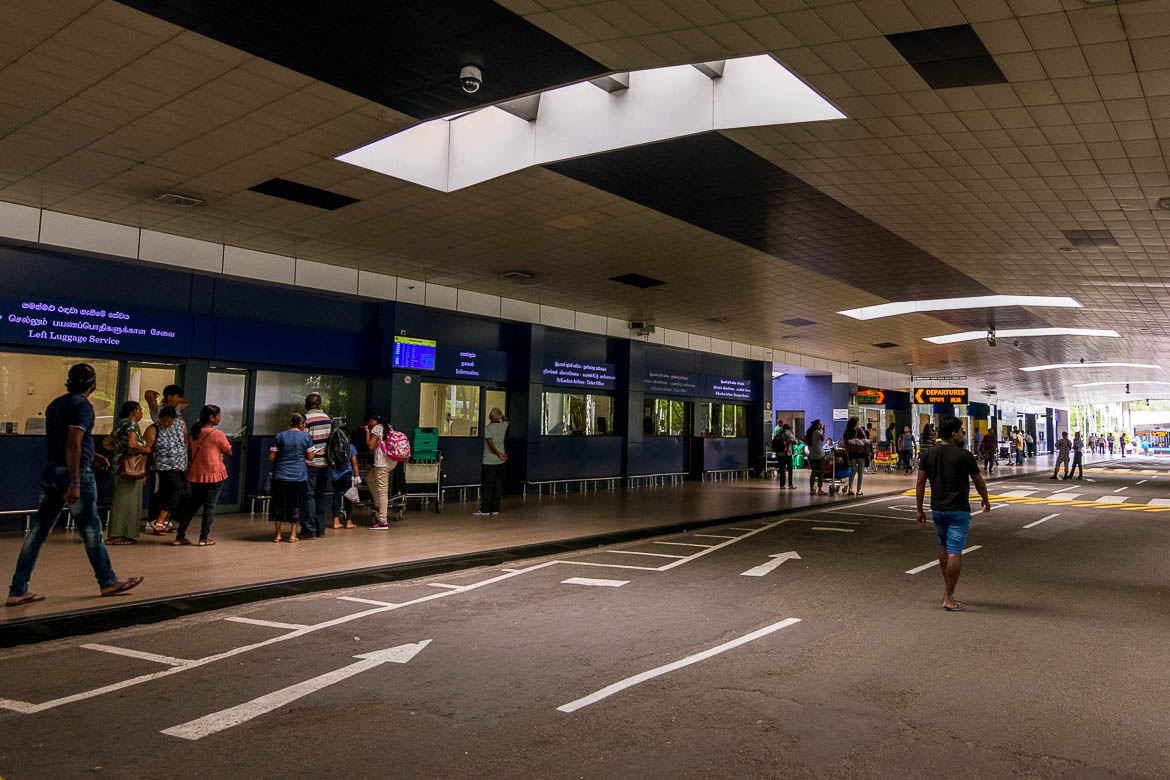 This is a photo of the outside area of the Departures hall at Colombo International Airport, Sri Lanka.
