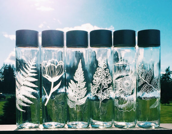 Etched Glass Bottles