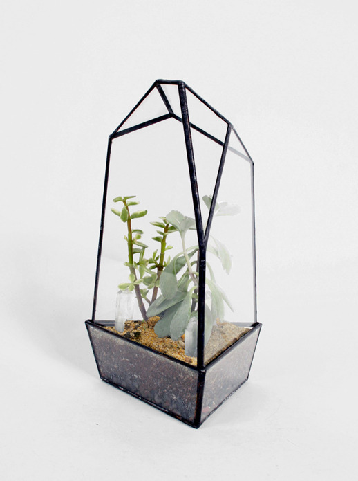 SMALL QUARTZ TERRARIUM SCORE AND SOLDER $140 USD Handmade with quartz and lead-free solder. Comes with a kit of rocks and activated charcoal.