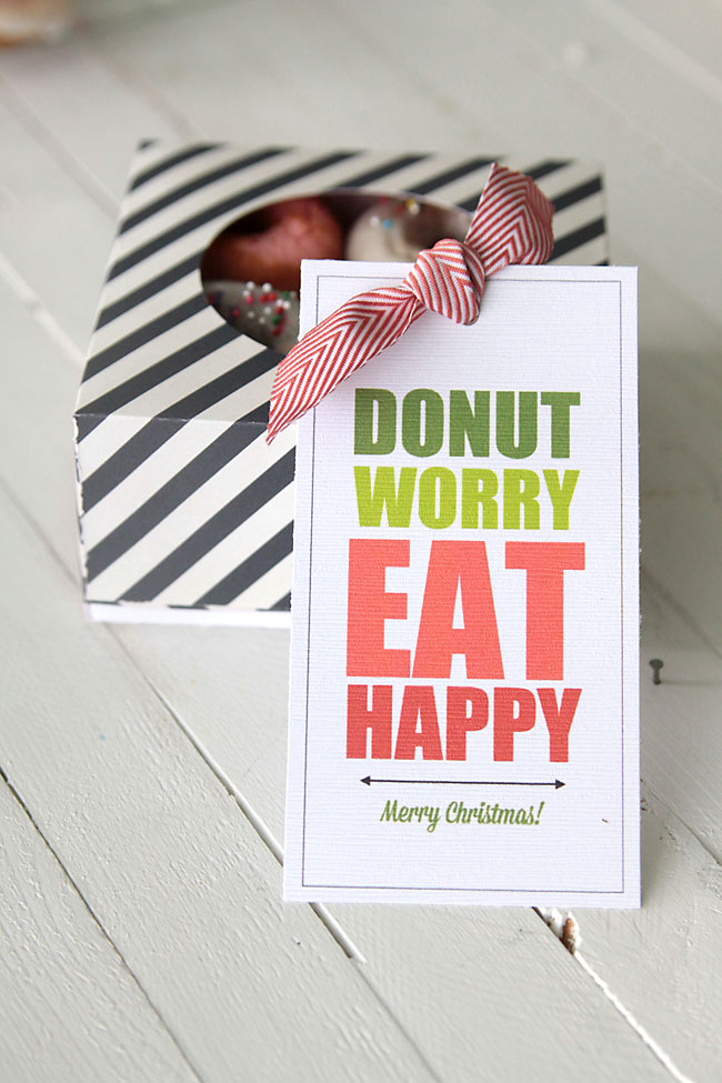 Donut Worry Eat Happy Free Printable Donut Gift Tags