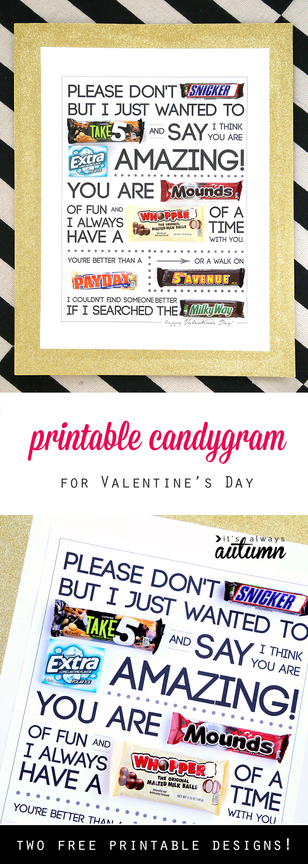 Free Printable Valentines Day Candygram Candy Poster
