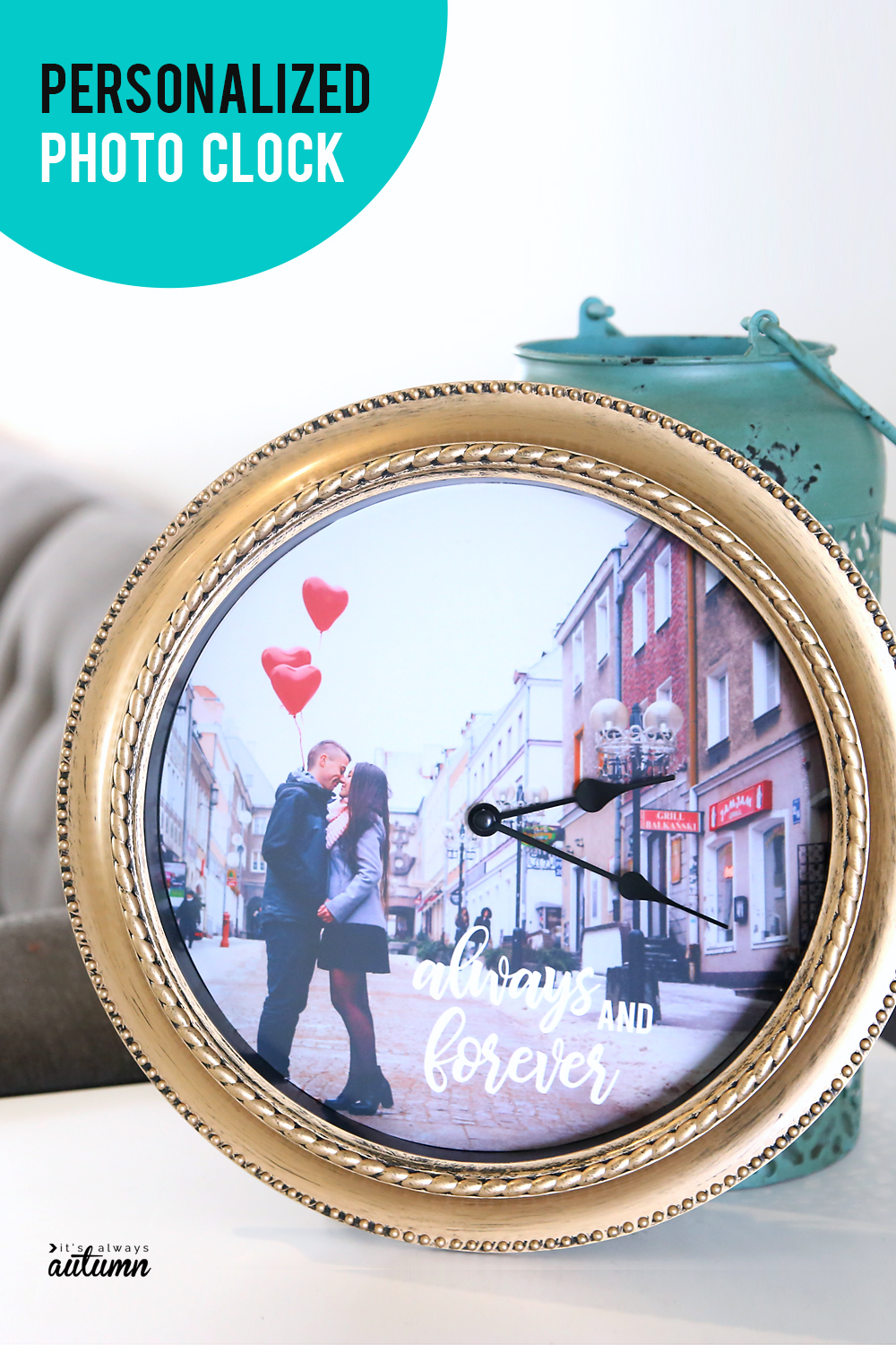 how to make a DIY personalized photo clock - It's Always Autumn