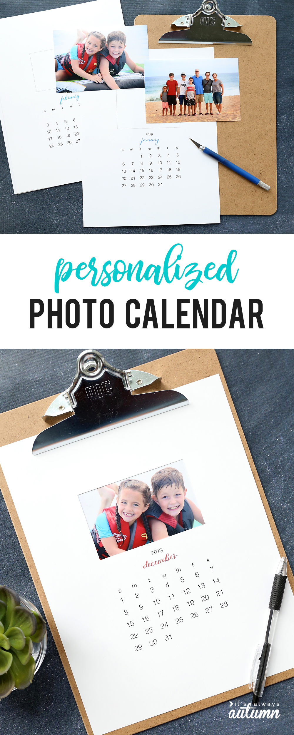 Make A Gorgeous Personalized Calendar With These Free Printable Pages For  2019. Easy, Inexpensive