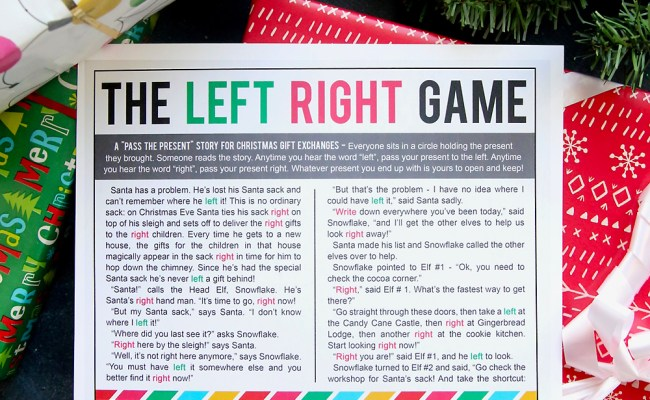 The Christmas Left Right Game W Printable Story It S