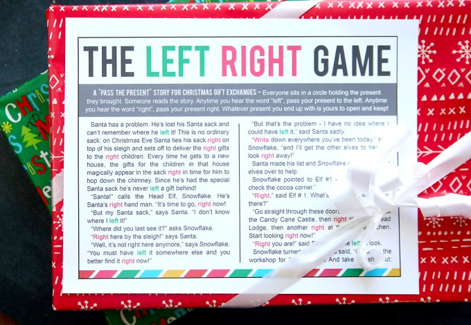 It is a photo of Sizzling Free Printable Left Right Christmas Game