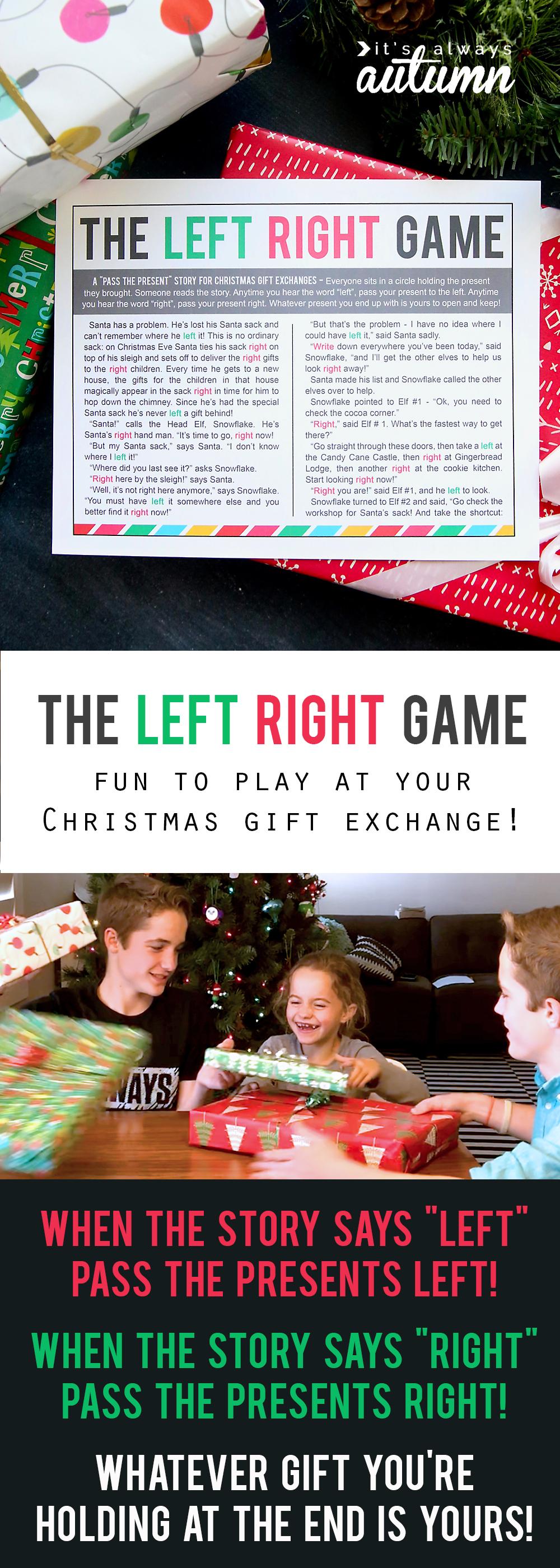 Printable Christmas Left Right Games The Christmas Left