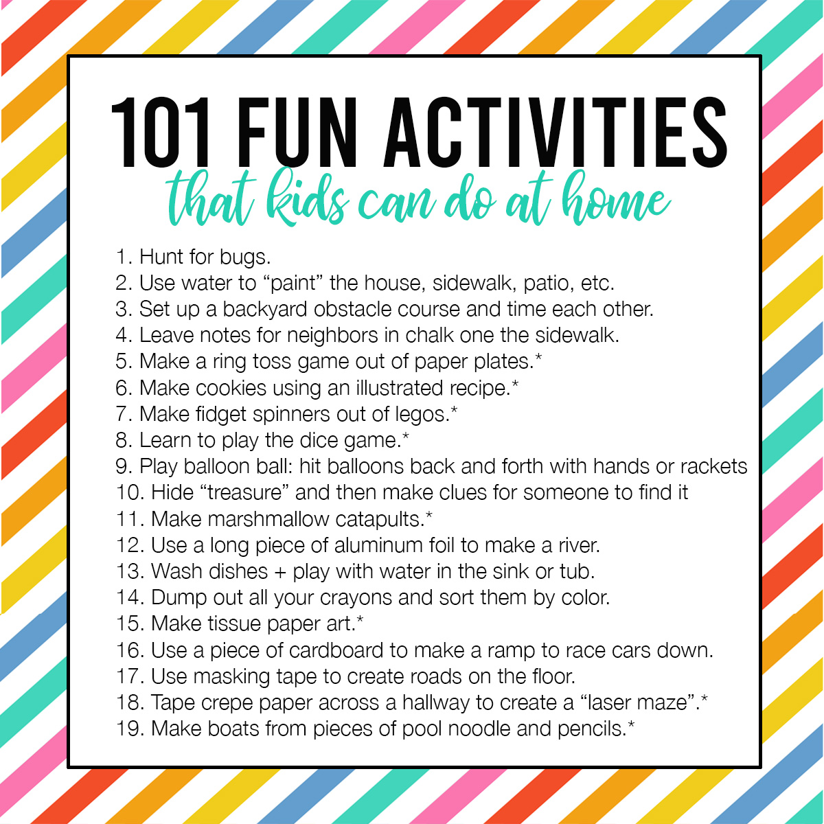 101 Fun Easy Activities Kids Can Do At Home
