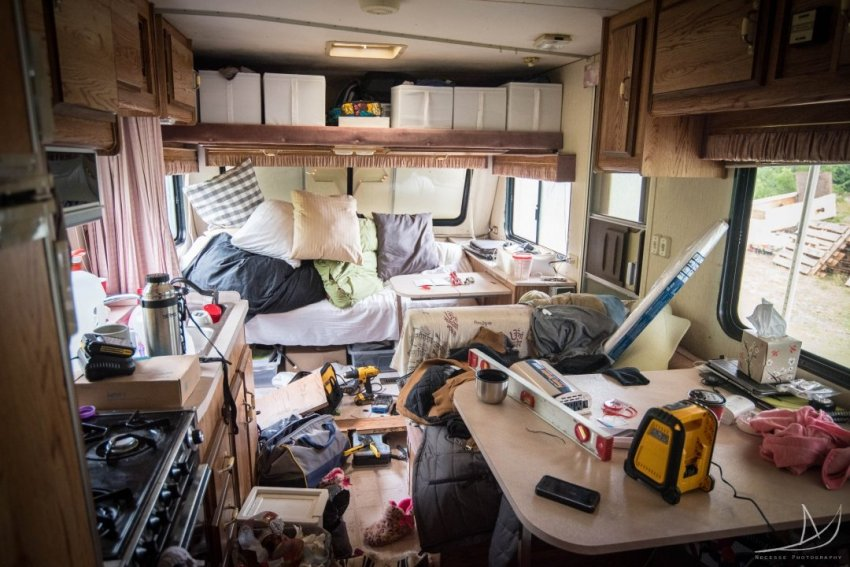 Travel trailer in complete disarray.