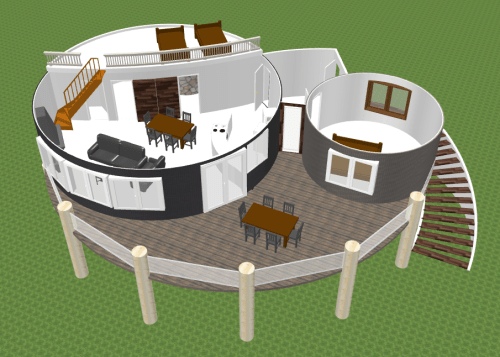 New design: Top view of living space with two yurts.