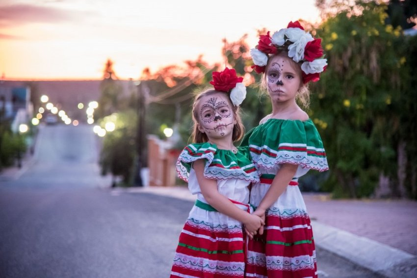 Going full-out on our costumes and enjoying the festivities with the locals of Todos Santos.