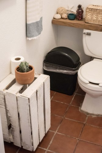 wooden crate in bathroom