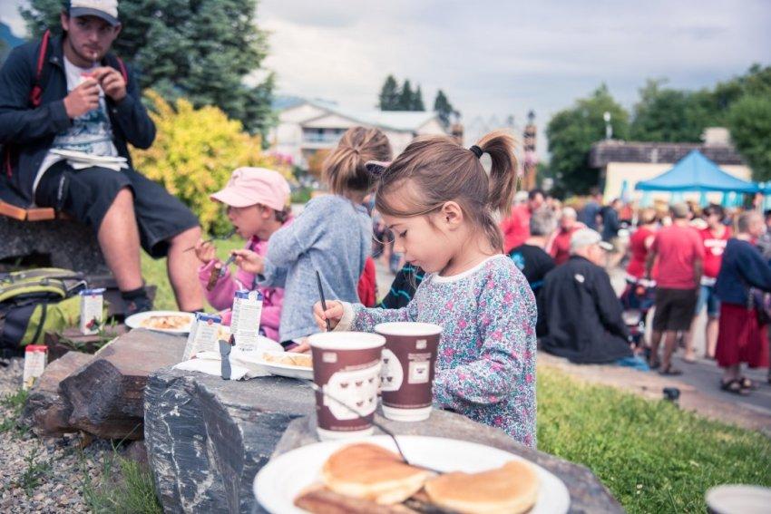 Ellia eating pancakes on Canada Day