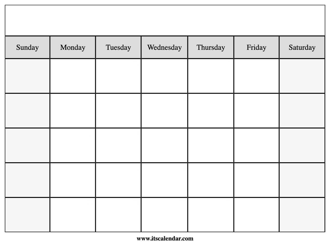 Perfect for posting this month's activities or planning a future vacation, the blank printable calendar template features several lines for each day to list important events, errands, holidays, and more. Printable Blank Calendar