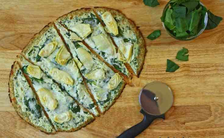 Spinach Artichoke Low Carb Pizza