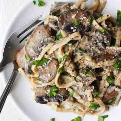 Low Calorie Spinach Mushroom Fettucine