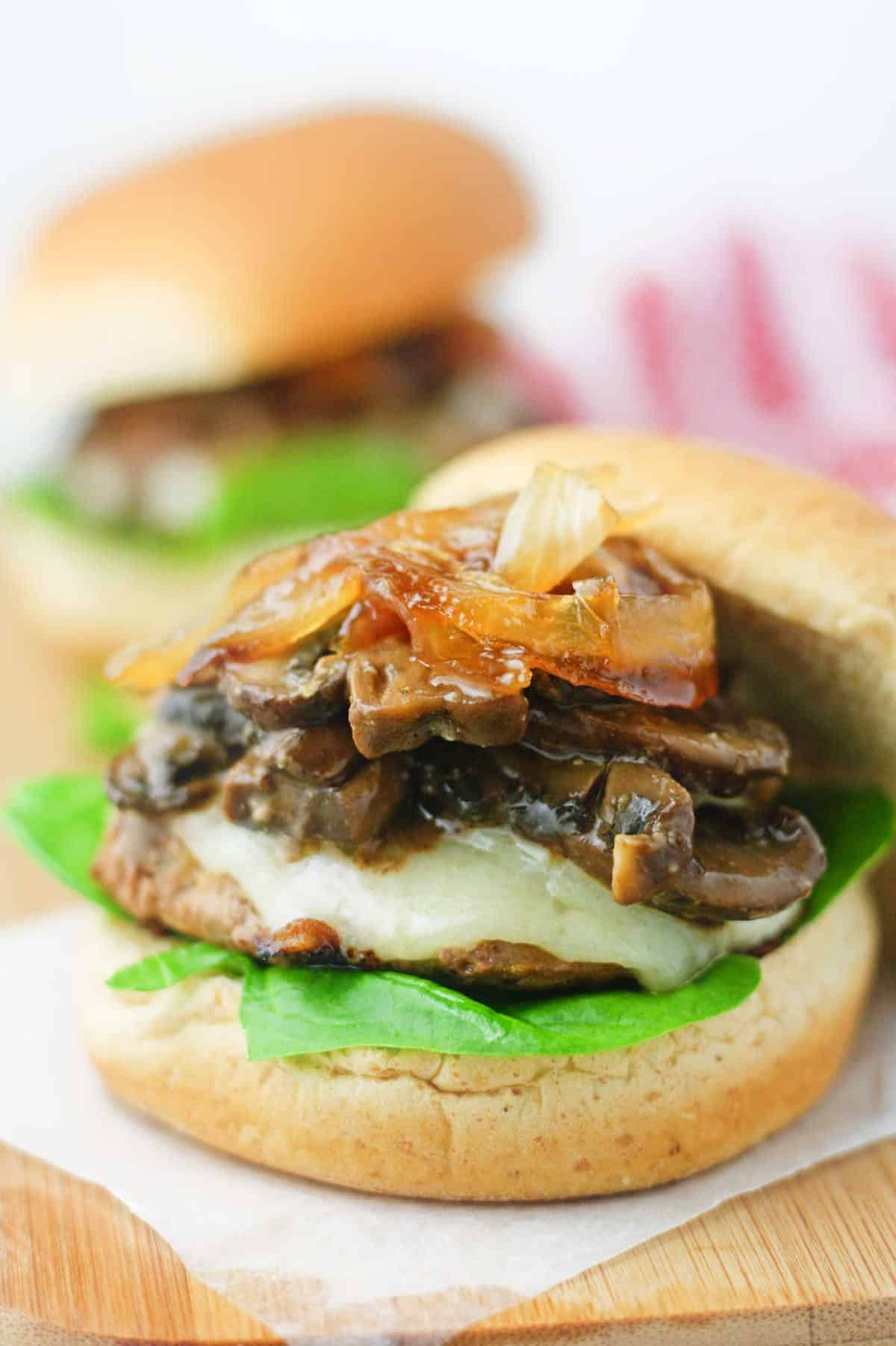 Honey balsamic mushrooms and caramelized onions on a lean turkey patty. The perfect, healthy and easy barbecue recipe! www.itscheatdayeveryday.com