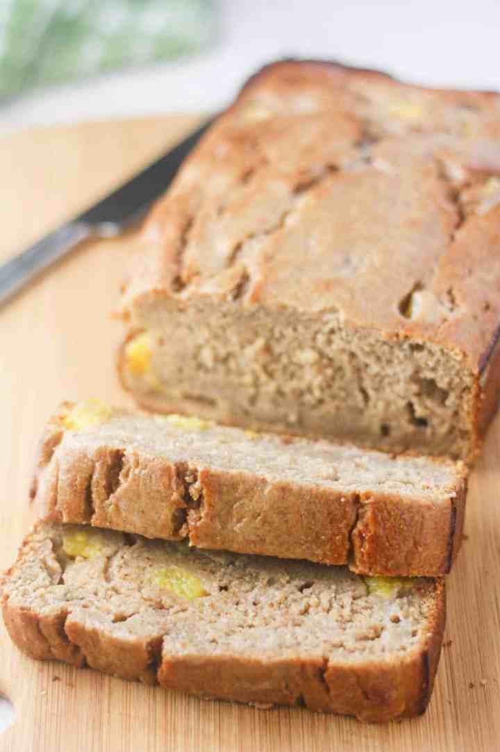 Healthy, low calorie banana bread made with Greek yogurt and fresh pineapple. Refined sugar free, easy to make and delicious!