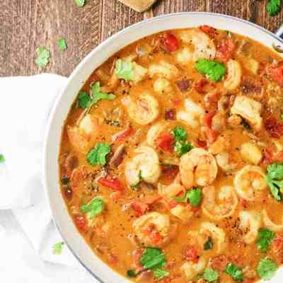One Pan Honey Coconut Shrimp Curry