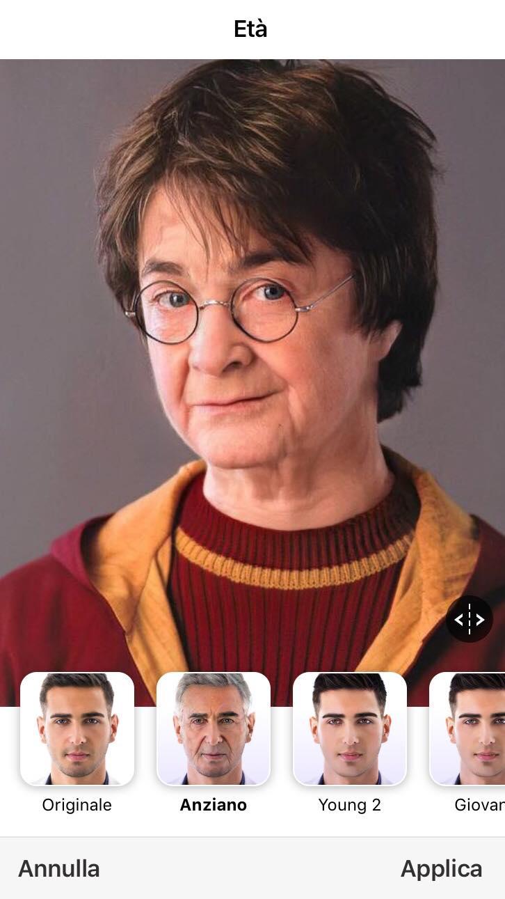 filtro per invecchiare viso anziano
