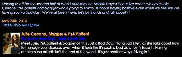 World Autoimmune Arthritis Day Chat & Giveaway!