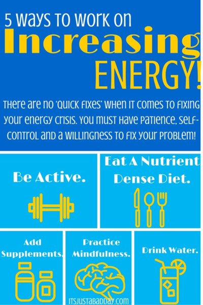 5 Ways To Boost Your Energy | There are no quick fixes when it comes to fixing your energy crisis, but there are certain tools you can use to help combat your fatigue! | Julie Cerrone Spoonie Holistic Health Coach itsjustabadday.com juliecerrone.com