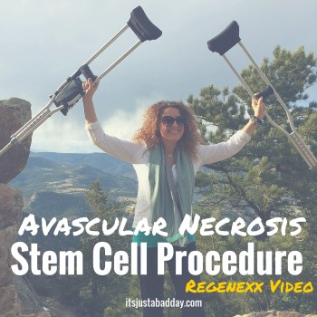 My Christmas Wish This Year Was To Walk. Regenexx Video on how their stem cell procedure helped my AVN in my femur and allowed me to get off my crutches for good! itsjustabadday.com