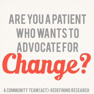 The Autoimmune Community Team (ACT): Redefining Research 2015 Celgene Innovation Impact Awards: Unleashing the Patient Voice in Research.autoimmune patients (125-175), diagnosed with Psoriatic Arthritis (PsA), Ankylosing Spondylitis (AS), AND/OR radiographic or non-radiographic Axial Spondyloarthritis (axSpA/nr-axSpA)