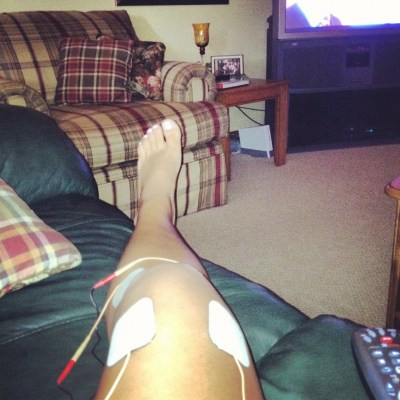Summer 2012 set up - stim machine on leg, propped up on the love seat, watching the London 2012 Olympics. If only I had a pic of my brother laying on the couch!