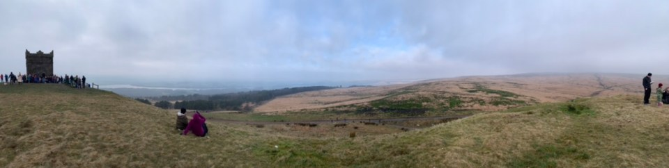 Picture show the view from the top of Rivington pike Bolton,