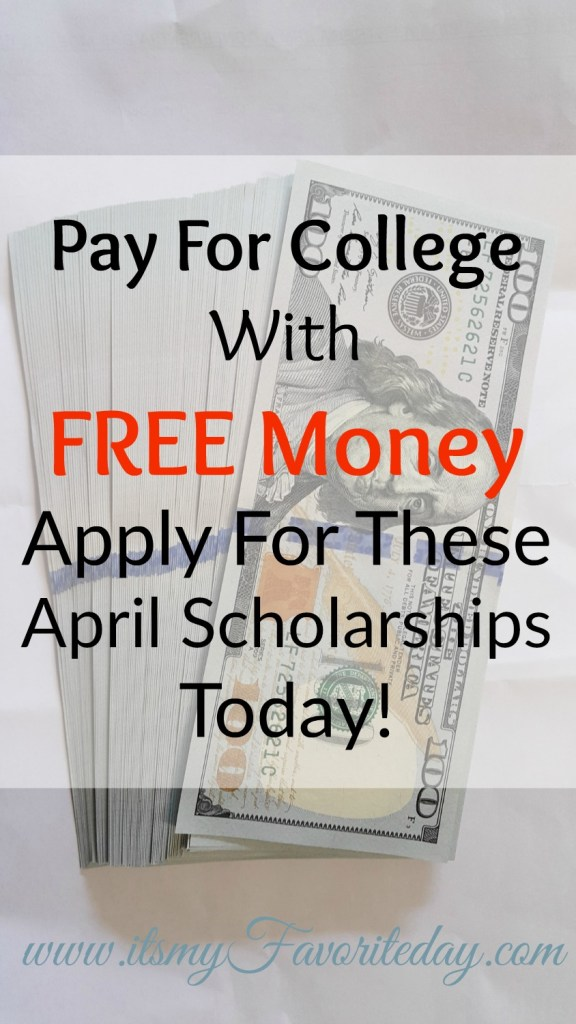 April Scholarship Opportunities are here! College is expensive, don't miss out on this opportunity for free money to pay for school.